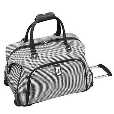 London Fog Cambridge 20 Inch Wheeled Club Bag, Black/White