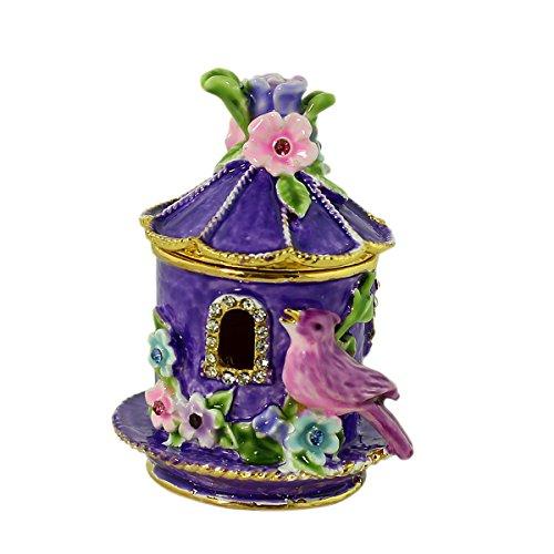 EchoMerx Purple Birdhouse with Flowers Trinket Box Beautiful Collectible Keepsake for Women