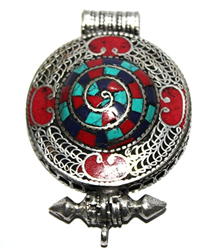 (Turquoise, coral, Lapis prayer box Pendant, design based on tibetan jewelry)
