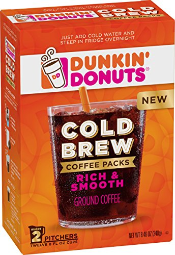 Dunkin' Donuts Cold Brew Coffee Packs Smooth & Rich Ground Coffee, 8.46 oz
