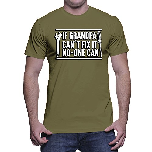Men's If Grandpa Can't Fix It No One Can T-Shirt (Olive, Large) ()
