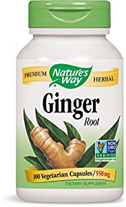 Nature's Way Ginger Root; 1.1 gram Ginger Root per serving; Non-GMO Project Verified; TRU-ID Certified; Gluten-Free; Vegetarian;  100 Capsules