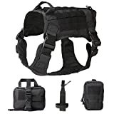 JASGOOD Tactical Dog Vest Military Harness with Detachable Molle Pouches/Patches Outdoor Training Handle Service Dog Vest (L, 03-Black)