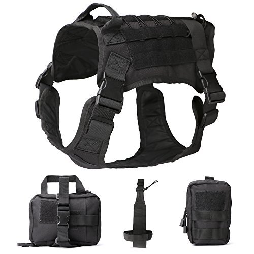 (JASGOOD Tactical Dog Vest Military Harness with Detachable Molle Pouches/Patches Outdoor Training Handle Service Dog Vest (L, 03-Black))