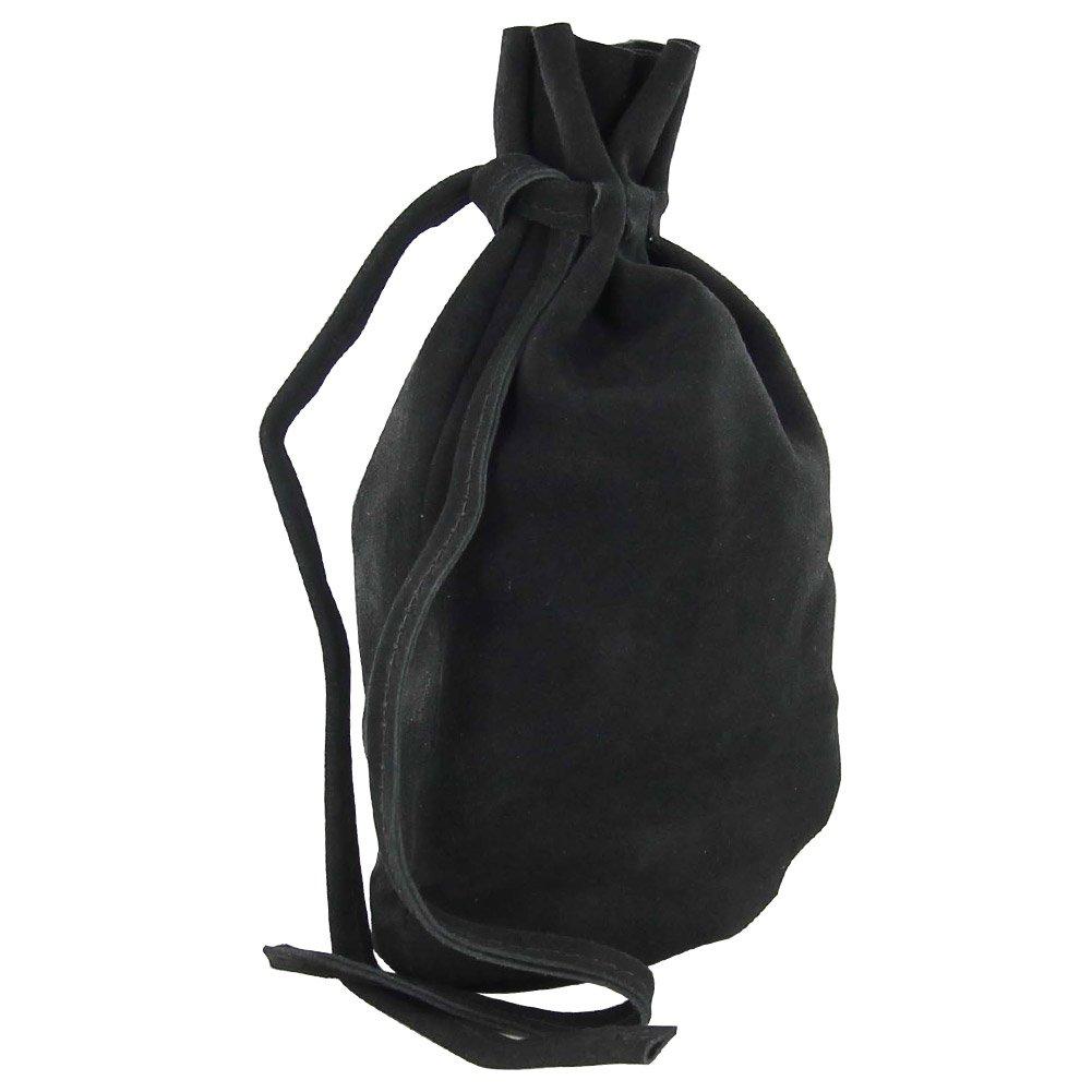 Medieval Renaissance Black Suede Sharecropper All Purpose Bag