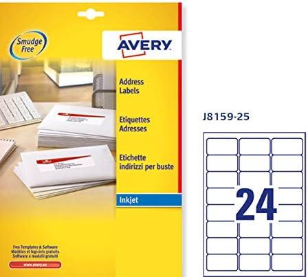 Avery J8167-25 Etiquettes 199.6 x 289.1 mm Blanc