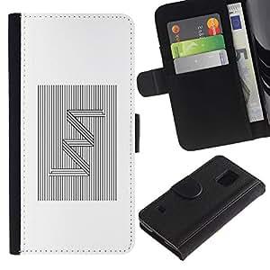 Be Good Phone Accessory // Caso del tirón Billetera de Cuero Titular de la tarjeta Carcasa Funda de Protección para Samsung Galaxy S5 V SM-G900 // Pattern Zig Zag Lines White Black