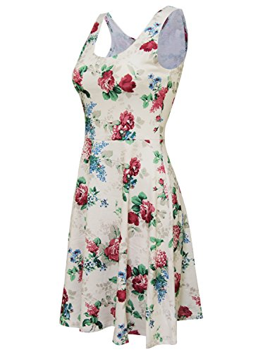 Tom's Ware Womens Casual Fit and Flare Floral Sleeveless Dress TWCWD054-WHITEWINE-US L by Tom's Ware (Image #2)