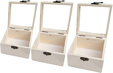 Wooden Unfinished Hinged Glass Lid Box Gifts Jewelry Display Storage Cases