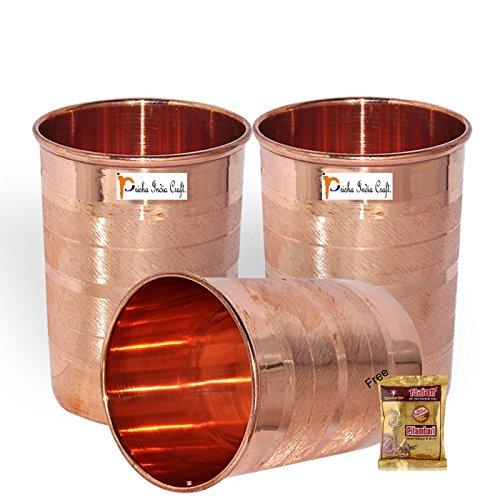 Prisha India Craft Copper Cup Water Tumbler   Handmade Water Glasses   Set of 3