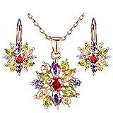 Jewelry Necklace Earrings Set-Morenitor[TM]18K Gold Plated Snowflake Earring Stud Pendants Chrismas Gift