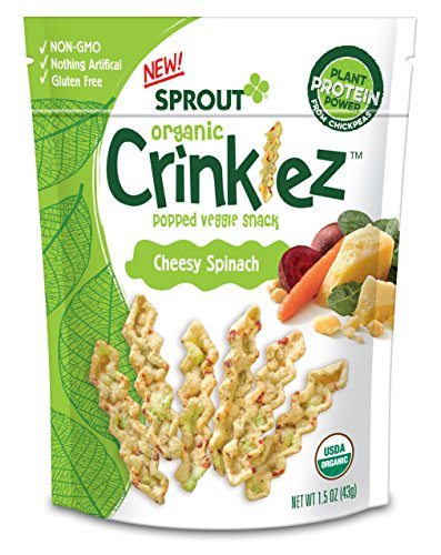 Sprout Organic Baby Food Crinklez Toddler Snack, Cheesy Spinach, 1.5 Ounce