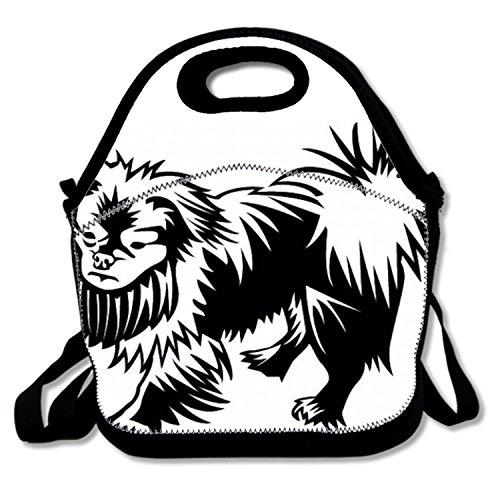 Food Handbag for Kids Polyester Thermal Cooler Tote for Men with Pekingese Dog Pet Clip Art (Clipart Pet)