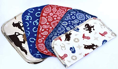 1 Ply Printed Flannel 8x8 Inches Little Wipes Set of 5 Rodeo Cowboy (Towel Baby Cowboy)