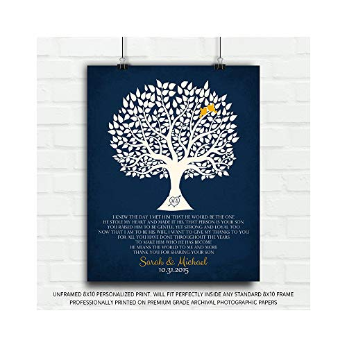 Personalized Thank You Gift for Mother of Groom I Knew The Day I Met Him Parents of Groom Gift Family Wedding Poem Tree Gift for Mom and Dad - 8x10 Unframed Custom Paper Art Print