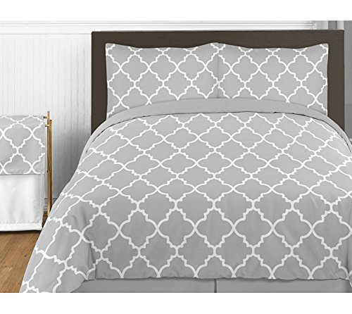 Gray and White Trellis 4 Piece Childrens and Teen Twin Boy or Girl Bedding Set Collection