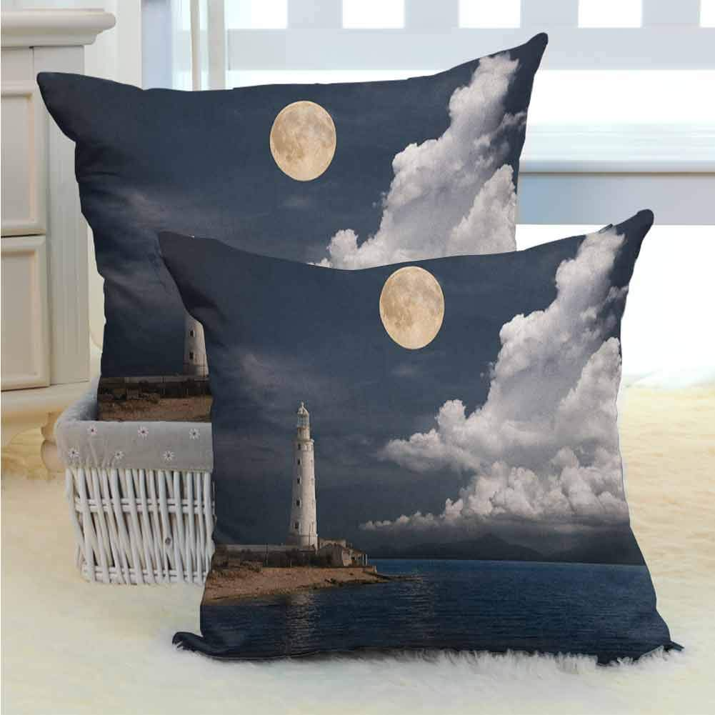Lighthouse Polyester Decorative Pillows Cover Lighthouse Moonlight Island Large Clouds Sea Seaside Waterfront Night Time Bay Various Print Fashion Patterns for Couch/Bed/Sofa 2PCS Multicolor -