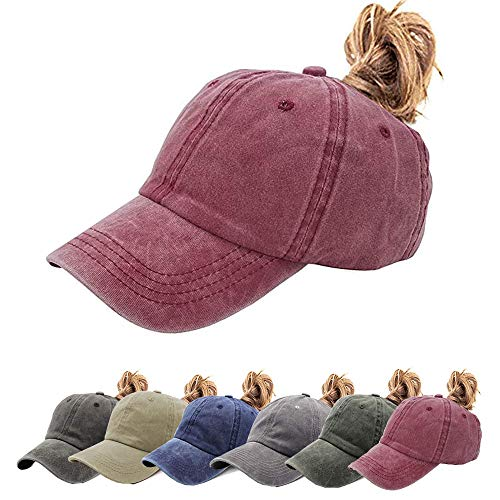 (Womens Ponytail Hat Vintage Washed Messy High Buns Ponycaps Baseball Trucker Cotton Adjustable (D1-Burgundy(High Ponytail)))