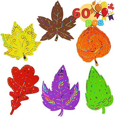 JOYIN 60-Piece Colorful Scratch Fall Leaves Crafts Paper with Scratching Tools with 6 Designs for Kids, Party Favor Supplies Decoration,Gift Tags, Fall Autumn Thanksgiving Craft