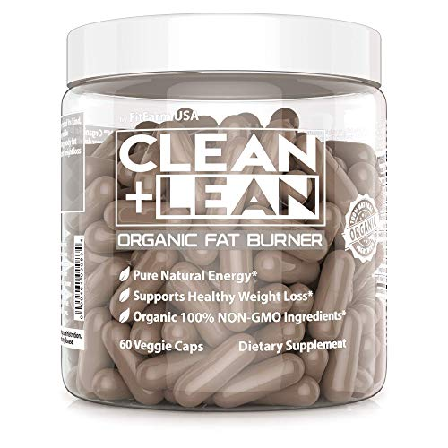 Clean + Lean -Organic Fat Burner by FitFarm USA - Worlds First Organic Fat Burner Supports Healthy Weight Loss with 100% Organic Non-GMO Ingredients! Gluten Free & Vegan 60 Caps-