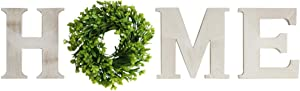 GARNECK Wooden Home Letters with Wreath Rustic Wood Home Sign Artificial Boxwood Wreath for Christmas Home Wall Ornament Decoration White