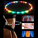 LED Hula Hoop Battery Powered and Collapsable Portable Hula Hoops - 36 Inch 23 Color Strobing and Changing LED Lights - Light Up Hula Hoops