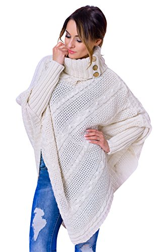 WozWoz Womens Polo Neck Knit Poncho Cape Sweater with Sleeves