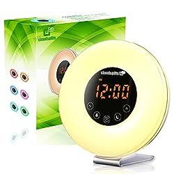cloudsplits Sunrise Wake up Light Digital Alarm Clock Radio. Sunset and sunrise simulation, snooze function, FM Radio, 7 Colors, 6 Natural Sounds, 10 Brightness Levels, night light, Touch Control
