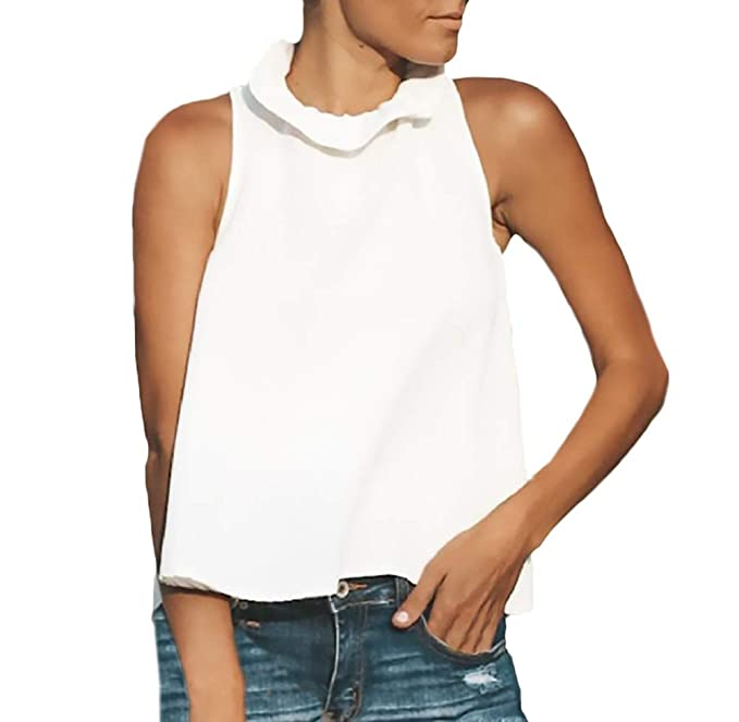 Tops Mujer Hem Butterfly Cortas Sleeveless Top Unicolor ...