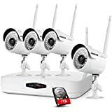 ANNKE 960P 4CH HDMI NVR 1TB HDD - 4 HD WiFi Wireless Weatherproof 720P Security Cameras System with Night Vision - Hassle Free Installation No Video Cable Needed