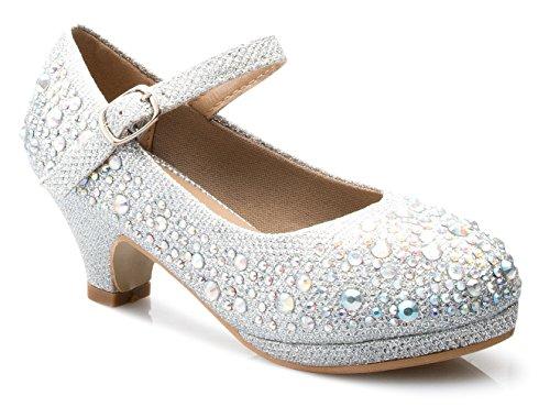 OLIVIA K Girls Kids Kitten Heels Rhinestone Patent Pretty Sandals Mary Jane Platform Dreess Pumps ()