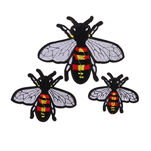 Bumble Bee Embroidered (Baoblaze 3 Pieces Flying Insect Fuzzy Bumble Bee Iron On / Sewing On Embroidered Applique Patch For Bags Clothes)