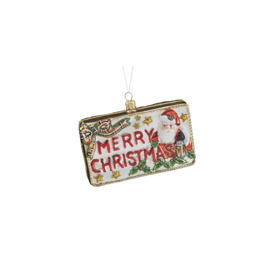 Kurt Adler 3.74 Inch Polonaise Glass Merry Christmas Postcard Ornament