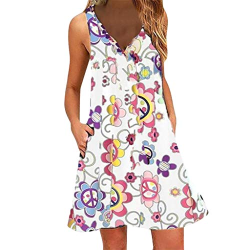 URIBAKE ♥️ Womens Boho Floral Print Dress Sleeveless V-Neck Summer Casual Beach Mini Dress White