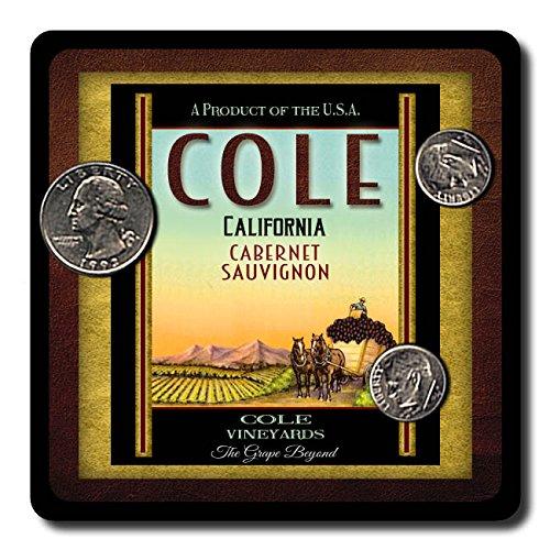 Cole Family Vineyards Neoprene Rubber Wine Coasters - 4 Pack (Cole Wine Coaster)