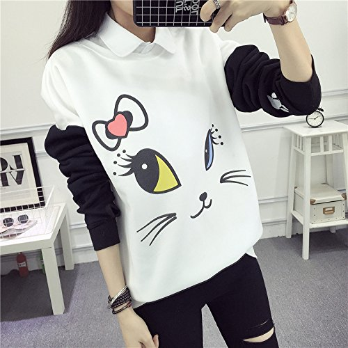 EDC-OnSale Lovely Cartoon Hoodies Female Kawaii Sleeved Womens Sweatshirts Leisure New Autumn Winter Cute Wild Tracksuits White XL at Amazon Womens ...
