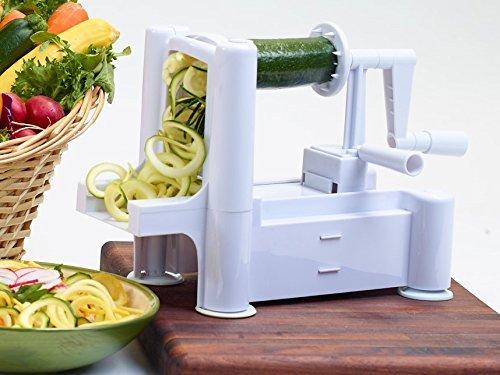 Veggoodle Vegetable Spiralizer, Spiral Slice Fresh Veggie Noodles for Low Carb Healthy Vegetable Meals, White