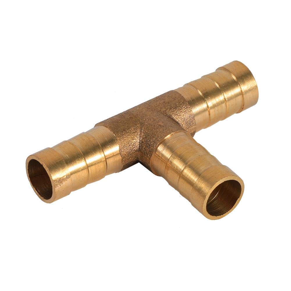 3-Way T-pieceBrass Joiner Hose Joiner Adapter for Fuel Air Water Gas Oil 8mm Fuel Hose Barbed Connector