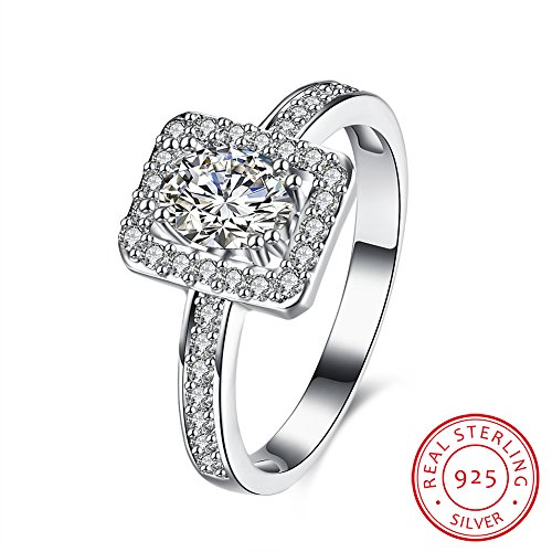 BALANSOHO Oval Cubic Zirconia Bridal Set Halo Wedding Band Ring in 925 Sterling Silver, Size 8 by BALANSOHO