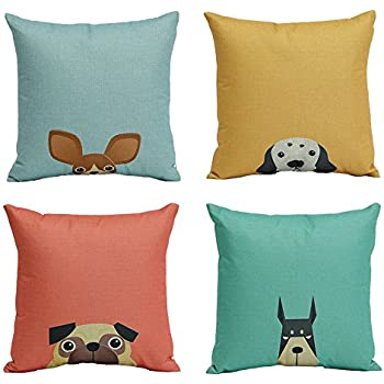Amazon WOMHOPE 40 Pcs 40 [Just Cover] Cartoon Dog Cotton Awesome Decorative Pillows Dogs