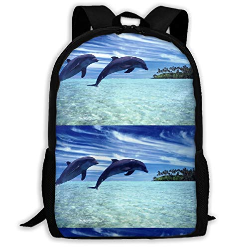 Twins Couple Jumping Dolphin Blue Sky Travel Hiking Laptop Backpack, Business Durable Lightweight Laptops Backpack Water Resistant College School Computer Bag for Women & Men