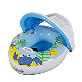 Baby Swim Ring Pool Float - Wishtime Inflatable Infant Swiming Ring with Sun Canopy Baby Safe Sit with Sunshade for Swim Training Suitable for 6-48M (Blue Boat)