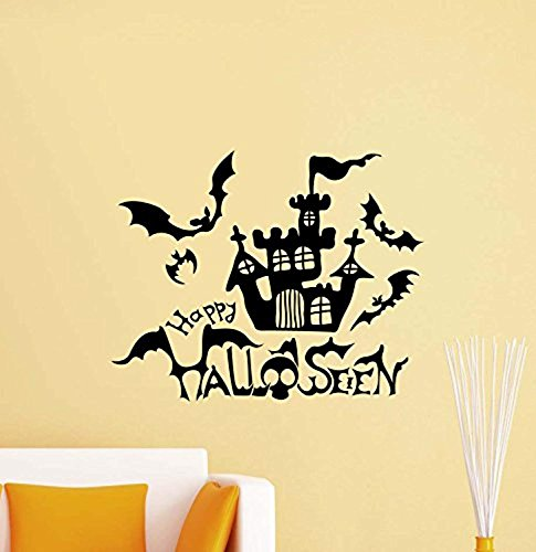 Atopdecals Happy Halloween Wall Decal Horror House Halloween Bats Stencil Vinyl Sticker Home Bedroom Decor Art Poster Mural Custom SW 454