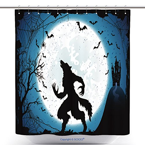 Durable Shower Curtains Dark Halloween Background With Moon On Blue Sky Castle And Werewolf Grunge Decoration With Cobweb 497578531 Polyester Bathroom Shower Curtain Set With Hooks