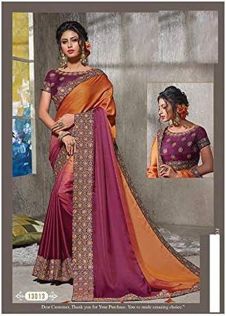 ETHNIC EMPORIUM womens Indian Wedding Bridal Handwork Thread Embroidery Saree Silk Women'S Sari Stylish Blouse Festival Party 7281 43481 Purple