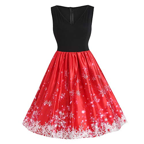 Fleece Hooded Tinkerbell - Sleeveless Dress,Chaofanjiancai Women Christmas Santa Claus Print Lace Patchwork Vintage A-Line Dress