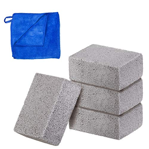 (4 Pack Grill Stone Cleaning Block Pumice Griddle Brick 100% Ecological BBQ Grill Cleaner for Oven, Flat Top Grilling, Toilet Bowl and Pool Calcium Remover)