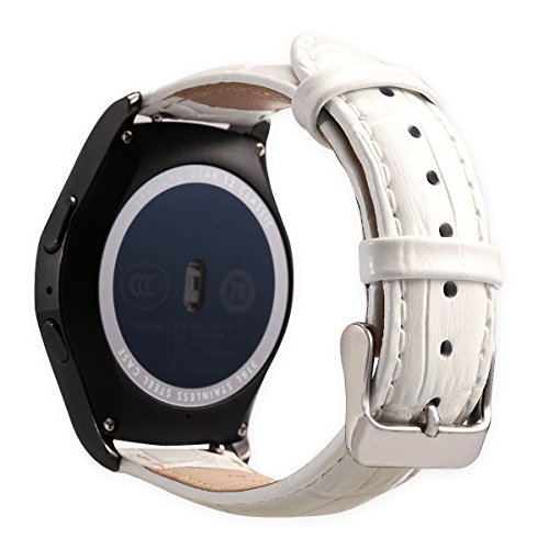 Valkit Compatible Gear Sport/Gear S2 Classic Bands Genuine Leather Smart Watch Band, 20mm Soft Bracelet Watchband Strap Replacement for Samsung Gear Sport SM-R600/Gear S2 Classic(SM-R732/R735), White