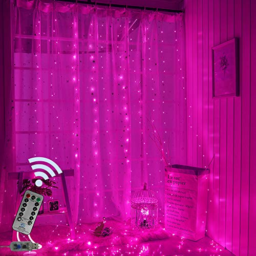 Obrecis Pink Icicle Curtain Lights 300 LED 8 Modes USB Remote Control Copper Starry String Fairy Lights for Wedding, Party, Proposal, Window Decorations -9.8ft x 9.8ft(Pink)