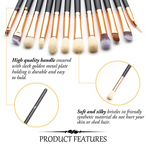 Qivange-Eye-Brush-Set-Cosmetics-Eyeliner-Eyeshadow-Blending-Brushes-12pcs-Black-with-Rose-Gold